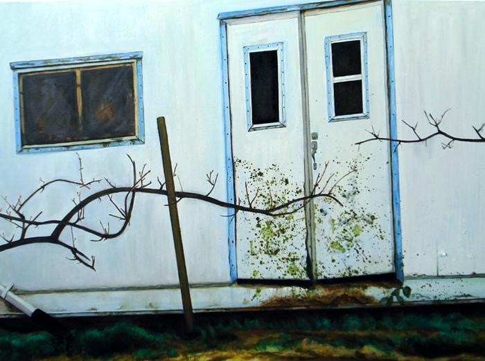 """Barn, Oil on Canvas, 30""""x40""""/農舍,布面油畫,76x102cm, 2008"""