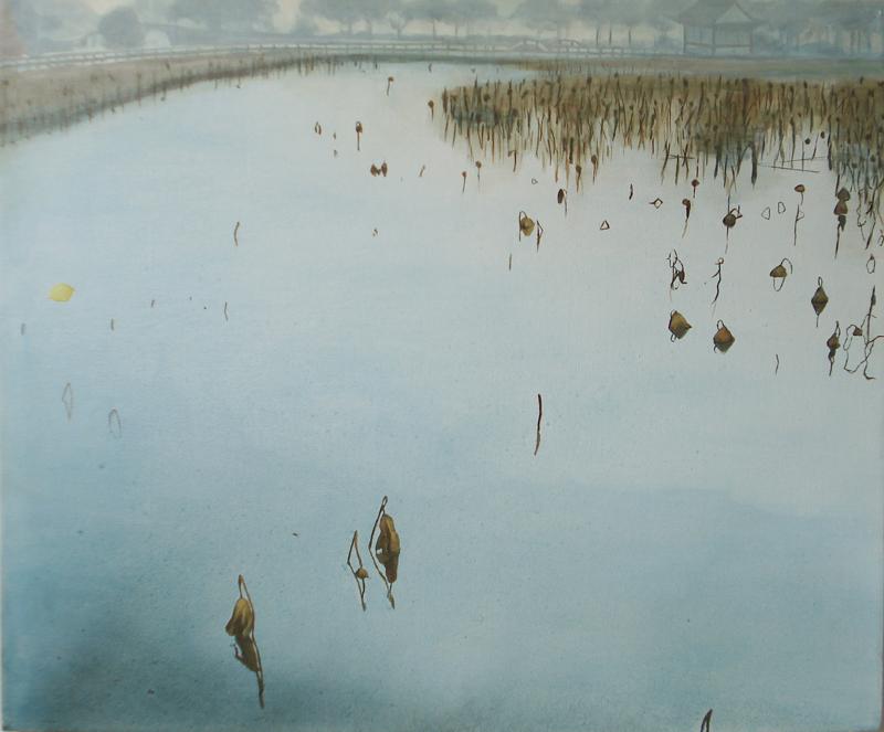 "January at West Lake, 20""x 24"" / 一月的西湖, 51cmx61cm, 2010"