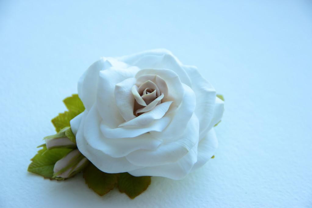 """Зажим """"Роза""""(холодный фарфор)"""