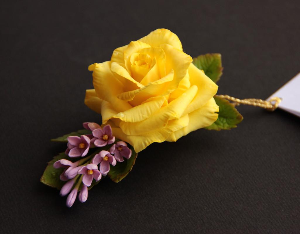 Зажим для волос желтой розой