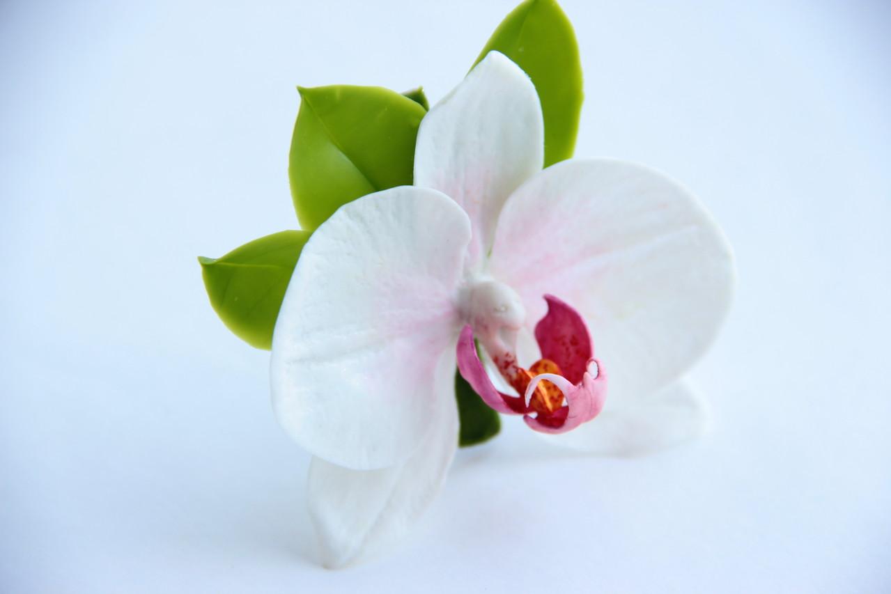 Заколка зажим с орхидеей из холодного фарфора