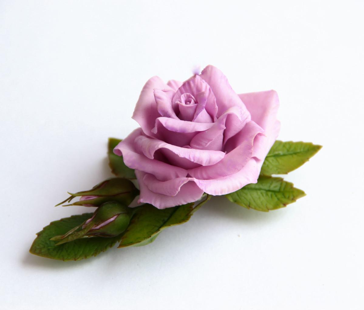 Зажим с сиреневой розой