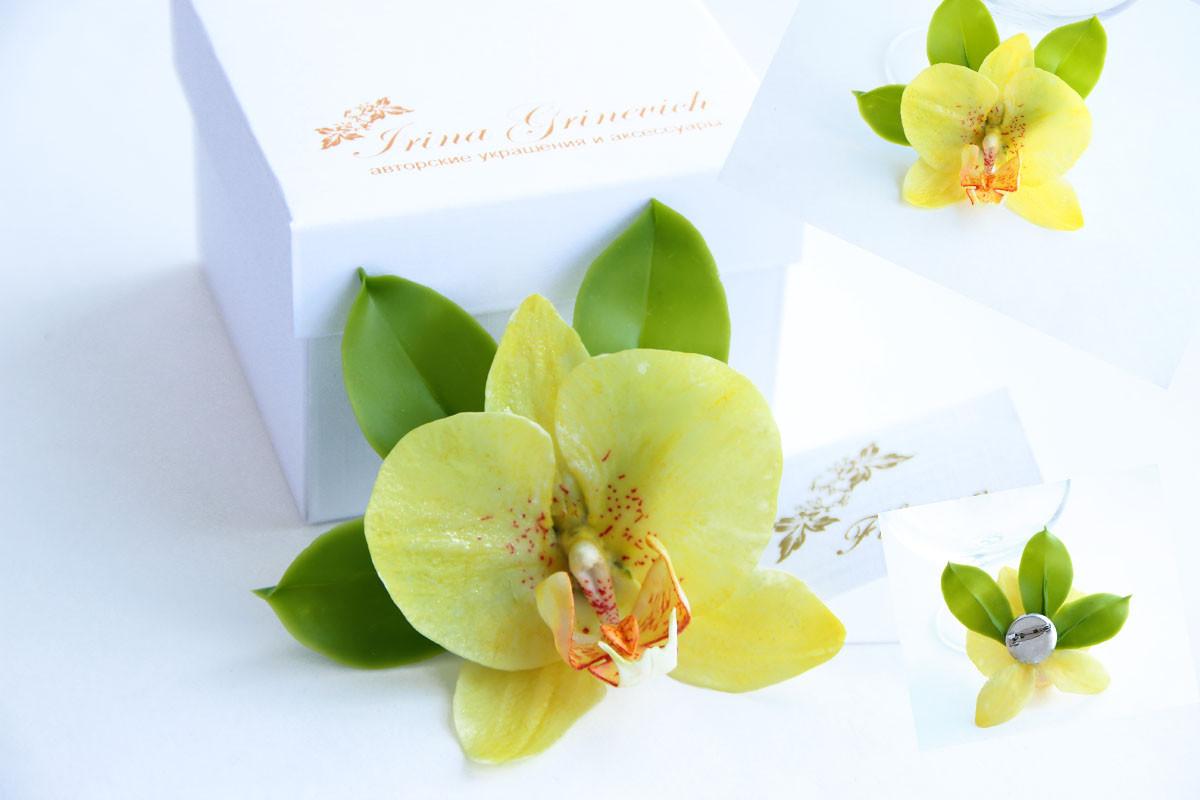 брошь с лимонной орхидеей из холодного фарфора