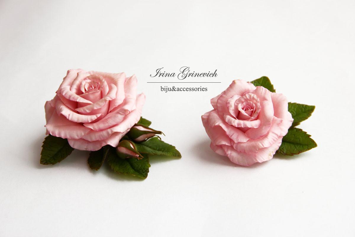 "Заколка-зажим  и брошь""Розовая роза"""
