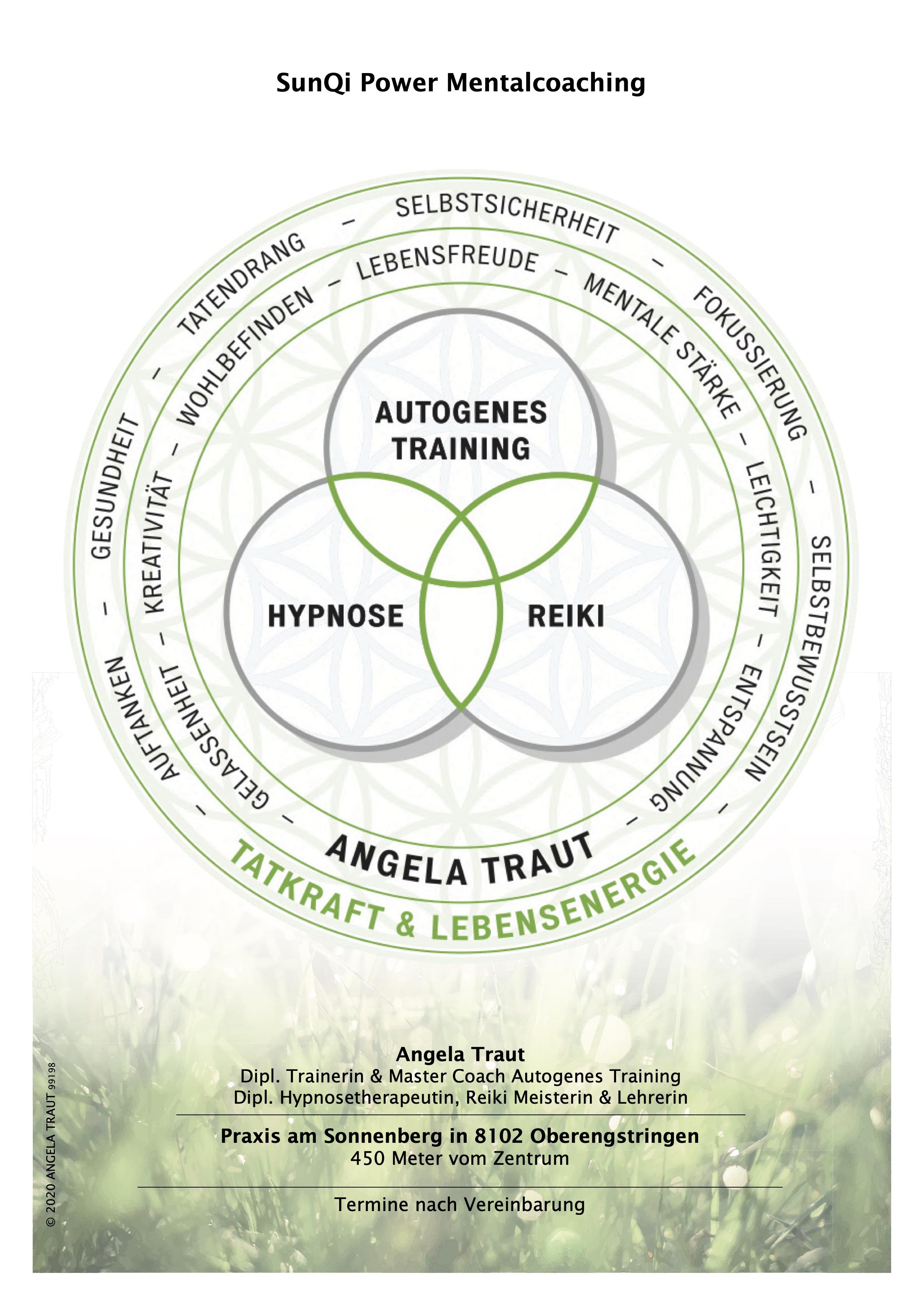 Entspannung, Leichtigkeit, Kraft und Energie mit Angela Traut wieder ins Gleichgewicht kommen durch Autogenes Training, Reiki, Hypnose - Selbstverantwortung und Selbstbestimmtheit
