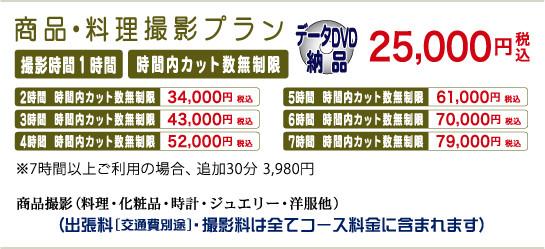 商品・料理撮影プラン 撮影1時間25,000円