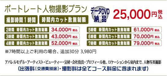 ポートレート人物撮影プラン 撮影1時間25,000円