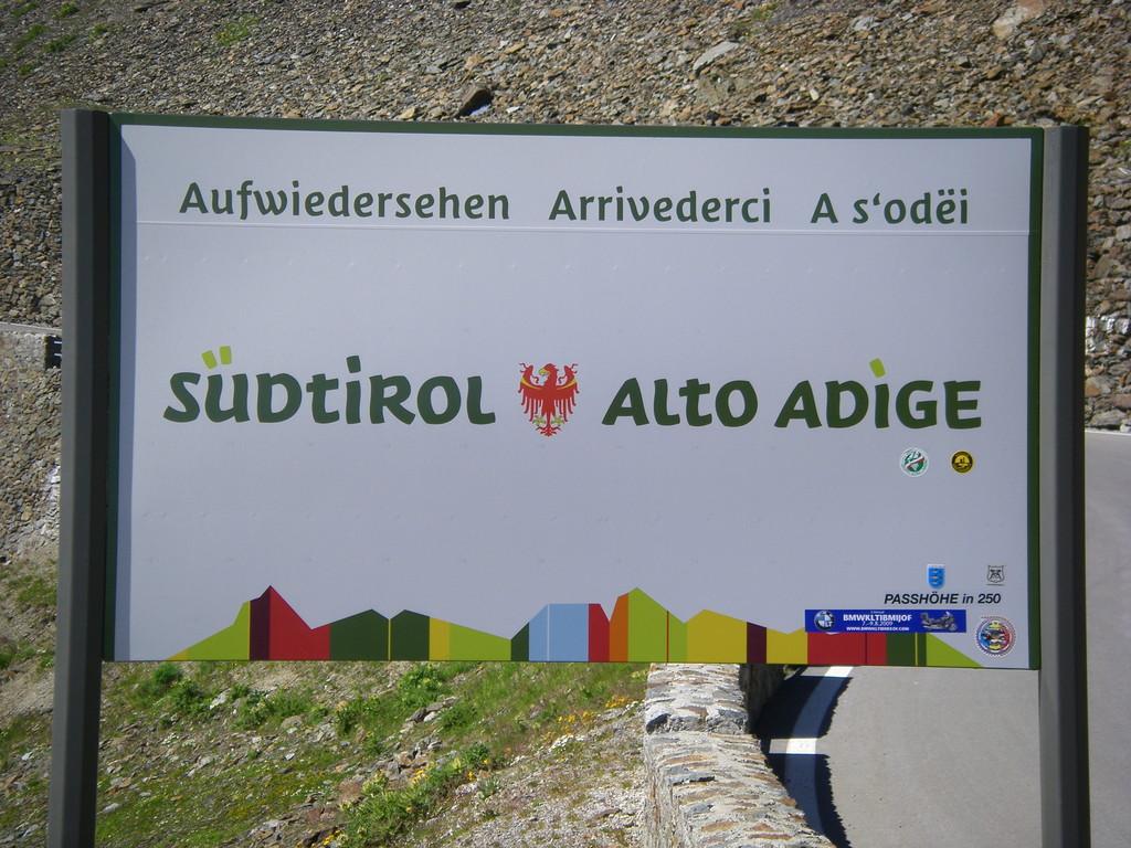 Je quitte l'Alto Adige ou Südtirol.