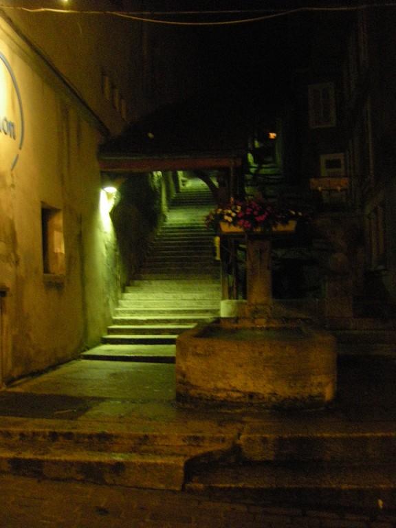 Les escaliers abrités menant au collège.