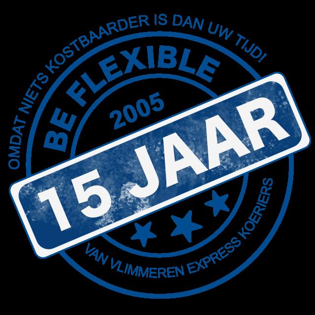 Stempel Logo 15 jaar bestaan Van Vlimmeren Express Koeriers