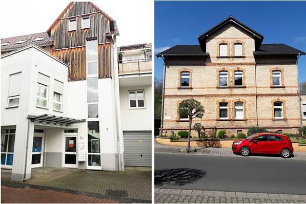 links: Tagesstätte, Gerbergasse 7  / rechts: Betreutes Wohnen und Bereichsleitung, Bahnhofstr. 51