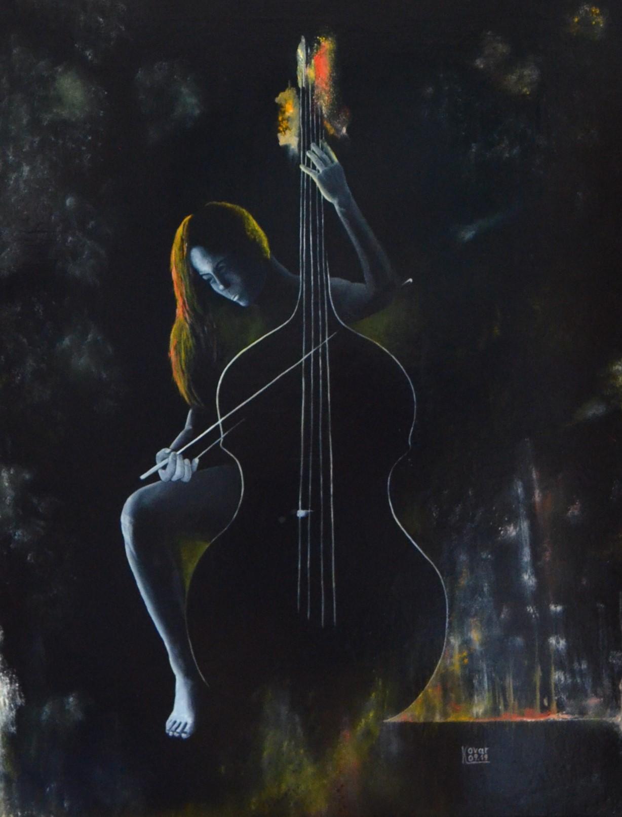 Bassinstrument, Öl  auf Leinwand, 70 x 90 cm, 2019, Oil on canvas.