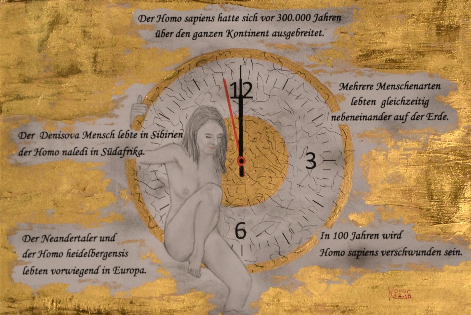 Szenario 1; Blattgold, Tusche und Pastell auf Papier, 48x38cm inkl. Rahmen. Gold leaf, ink and pastel on paper inkl. frame. 2018