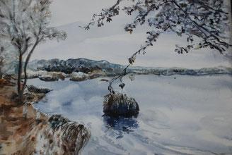 Lac Gelé, Aquarelle 30X40 VENDU