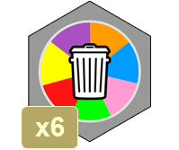 """Carte """"À la poubelle"""" omnicolore - https://www.tangram-champions.com"""