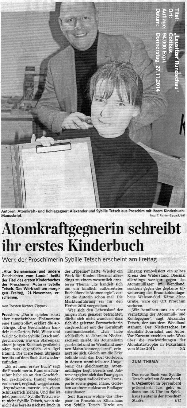 """aus: """"Lausitzer Rundschau"""", 27.11.2014"""