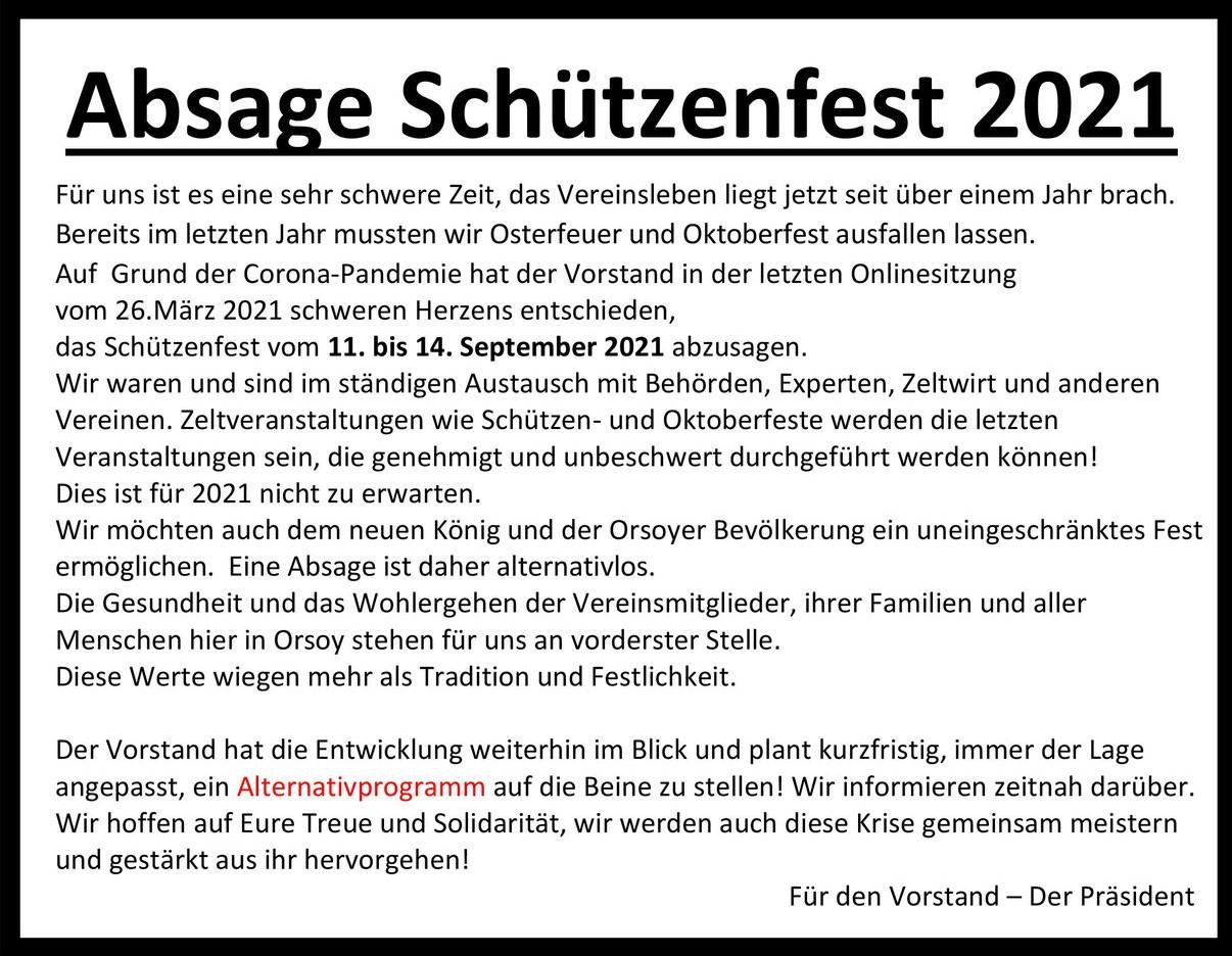 BSV-Orsoy, Orsoy, Bürgerschützenverein, Schützenblatt, Orsoyer Bürgerblatt, Bürgerblatt, Absage Schützenfest 2021