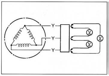 Схема подсоединения вольтметра к генератору