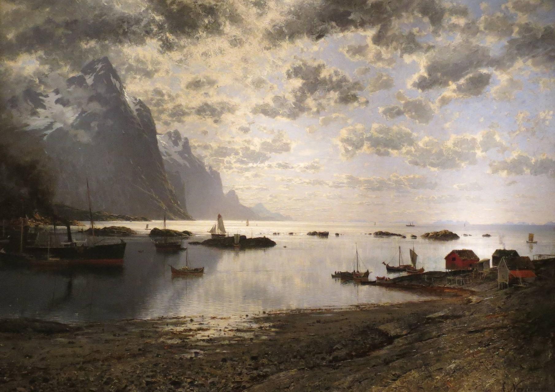 Außerdem standen noch zwei Museen auf dem Besuchsplan: zuerst das Nordnorsk Kunstmuseum mit dramatisch beleuchteten Szenerien ...
