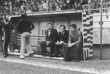 Bruno Baveni in panchina con Franco Lanteri e Paolo Berio