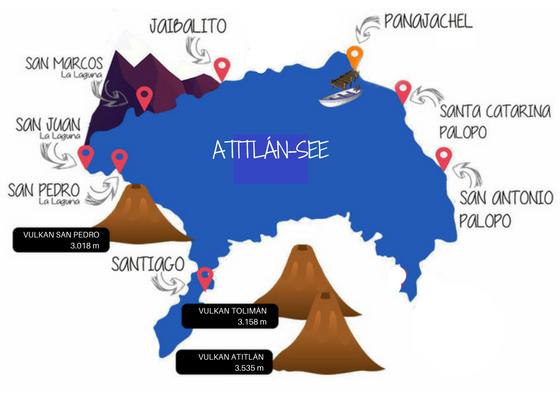 Karte Atitlán-See Dörfer