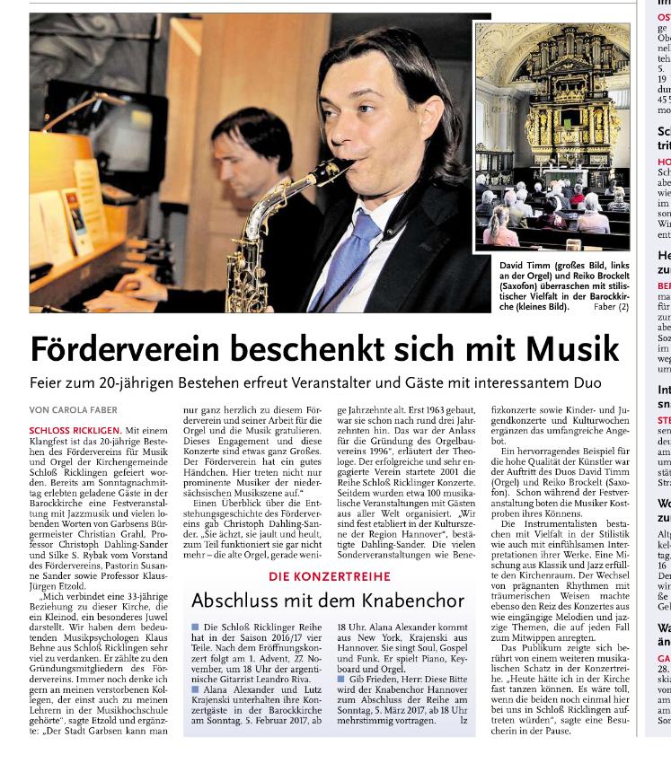Leine Zeitung im Oktober 2016