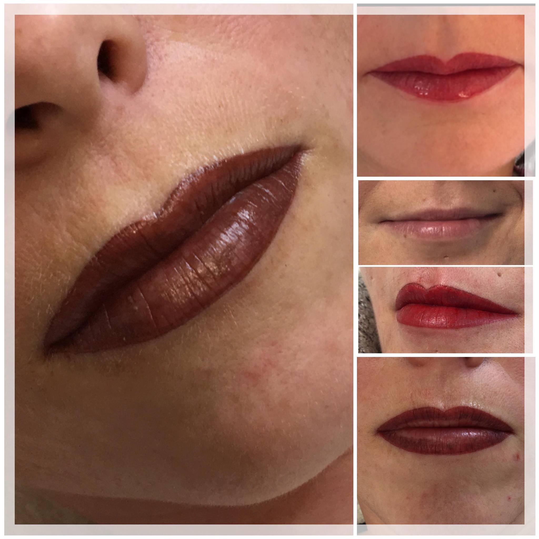 Lippenvollschattierung & Lippenteilschattierung unmittelbar nach der Behandlung (Die Farbe wird noch bis zu 50 % heller)