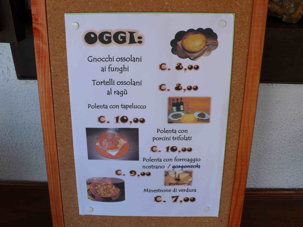 Menu des Rifugio Margaroli