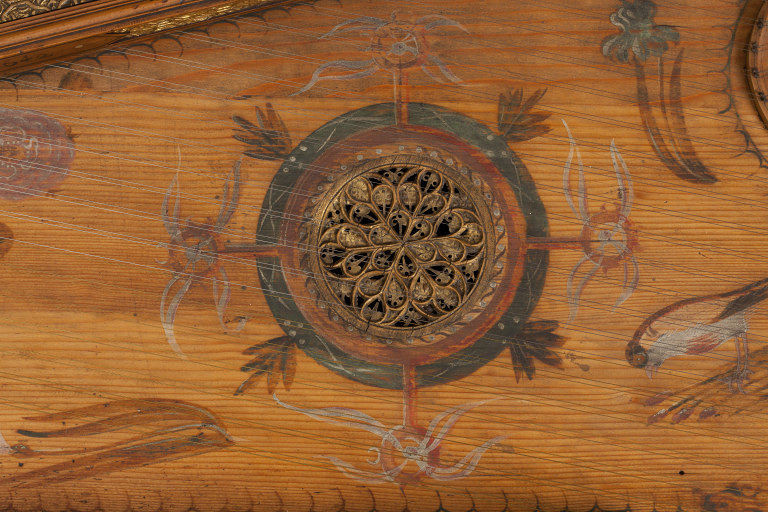Gilt leather rosette from a Rectangular virginal by White, Thomas , 1642 London, England (made) © V&A Images