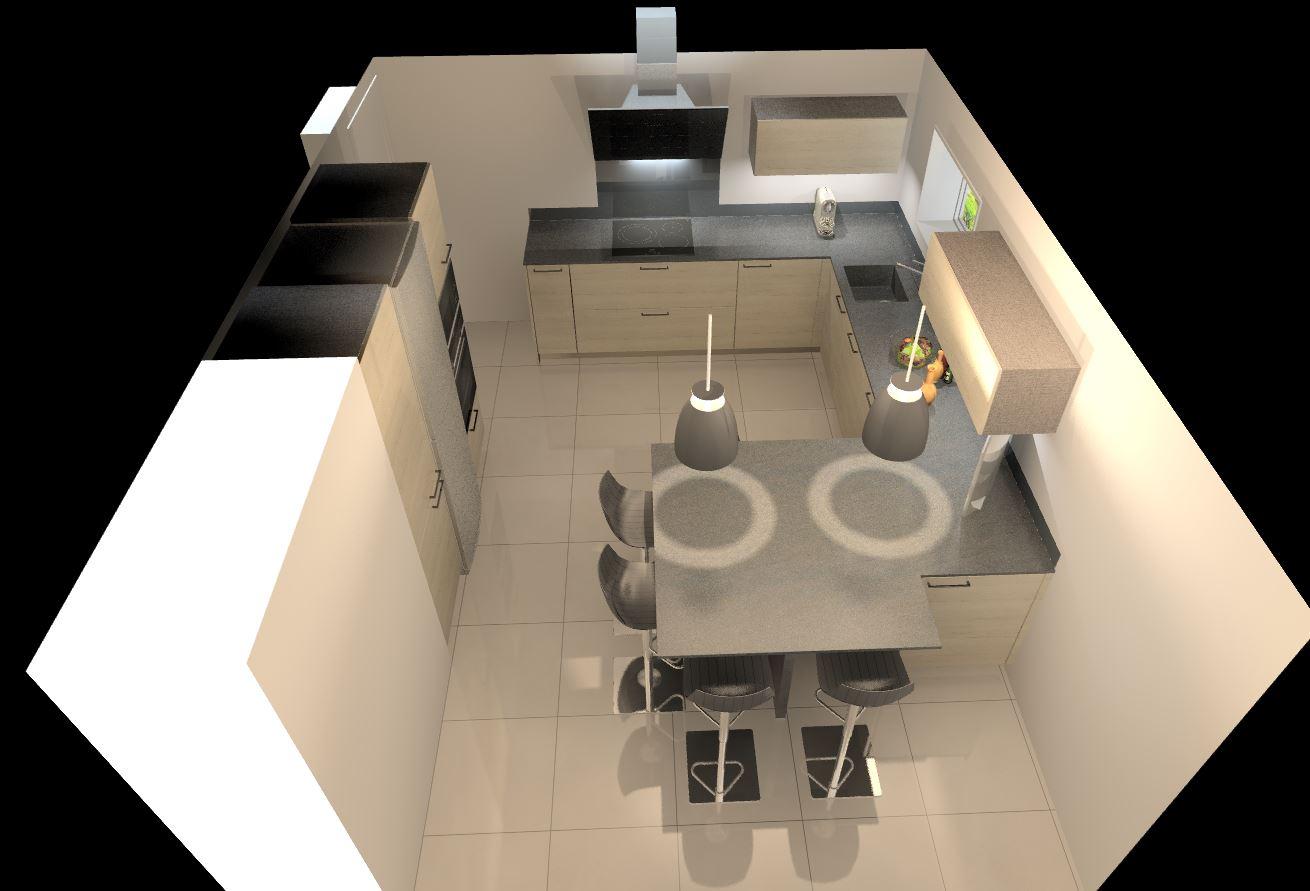 cuisine bois et plan de travail silestone anthracite poignées noires perspectives vue 3D cuisine intérieur design toulouse