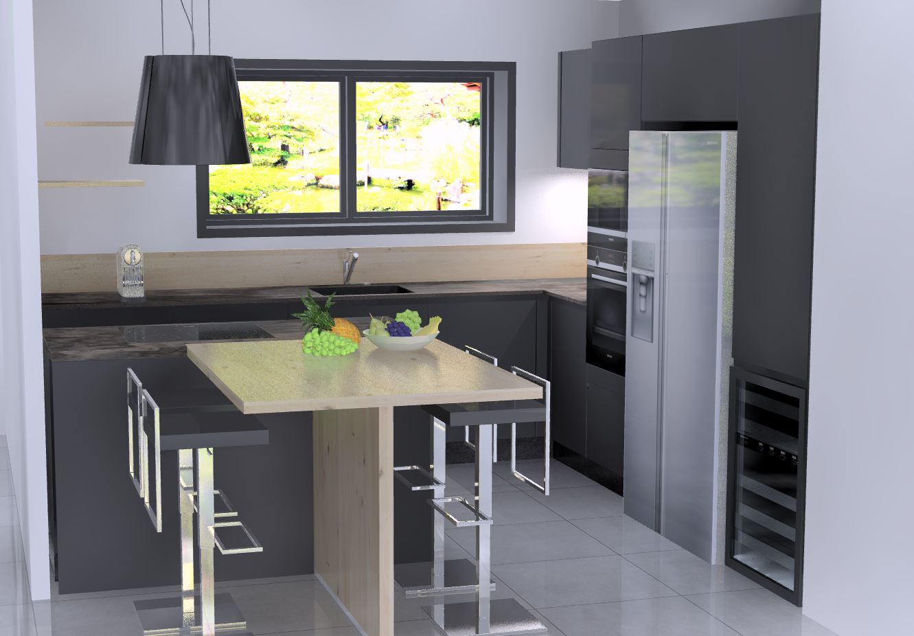 cuisine noire et bois conception 3D cuisine haut de gamme sans poignées par cuisine design Toulouse