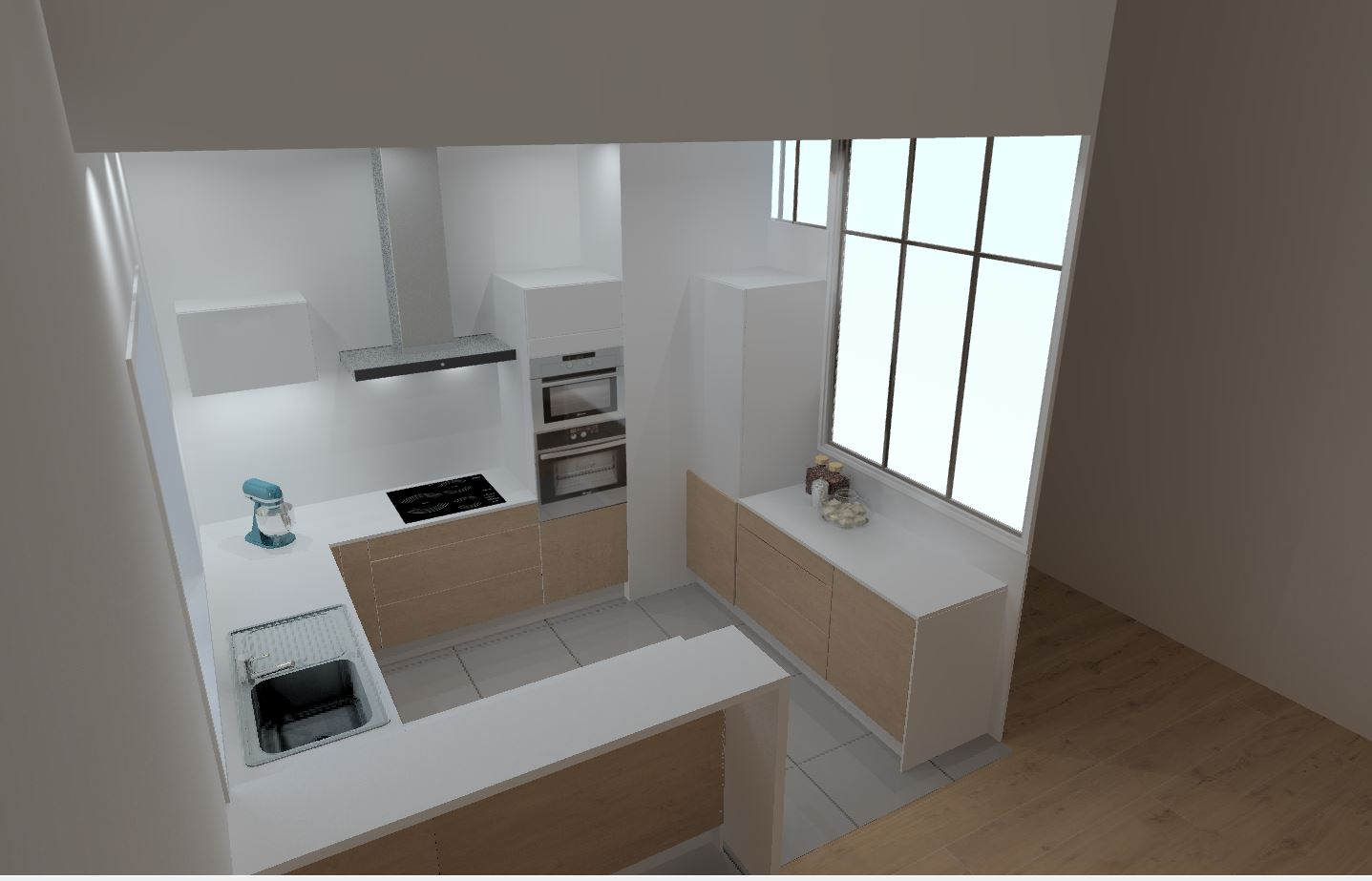 cuisine bi matière bois et laque blanche sur mesure avec vérrière par Cuisine Intérieur Design Toulouse