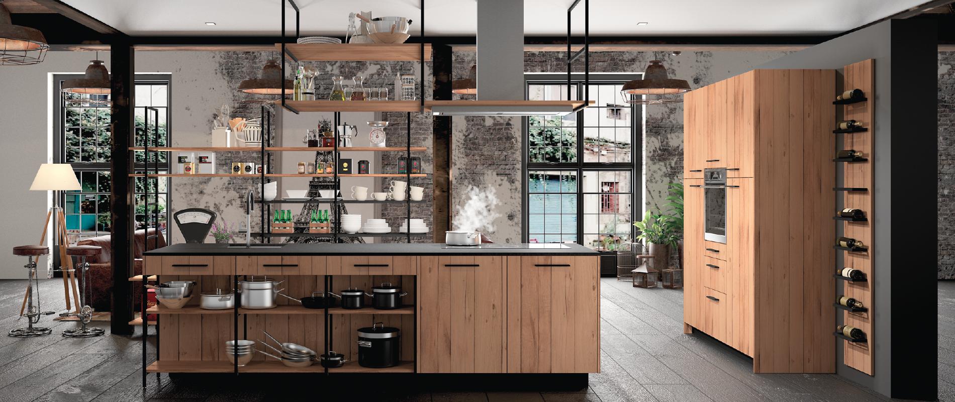 cuisine intérieur design tendance moderne  à toulouse type industriel industrielle bois et métal noir ilot central et mur de colonnes suspensions
