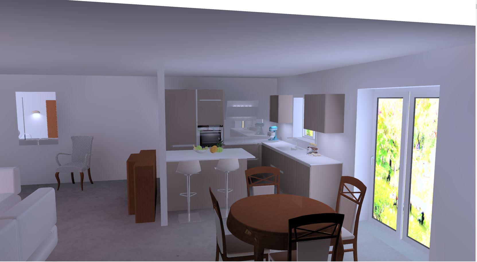 projet en photo réalisme par cuisine design Toulouse intégrant toute la pièce
