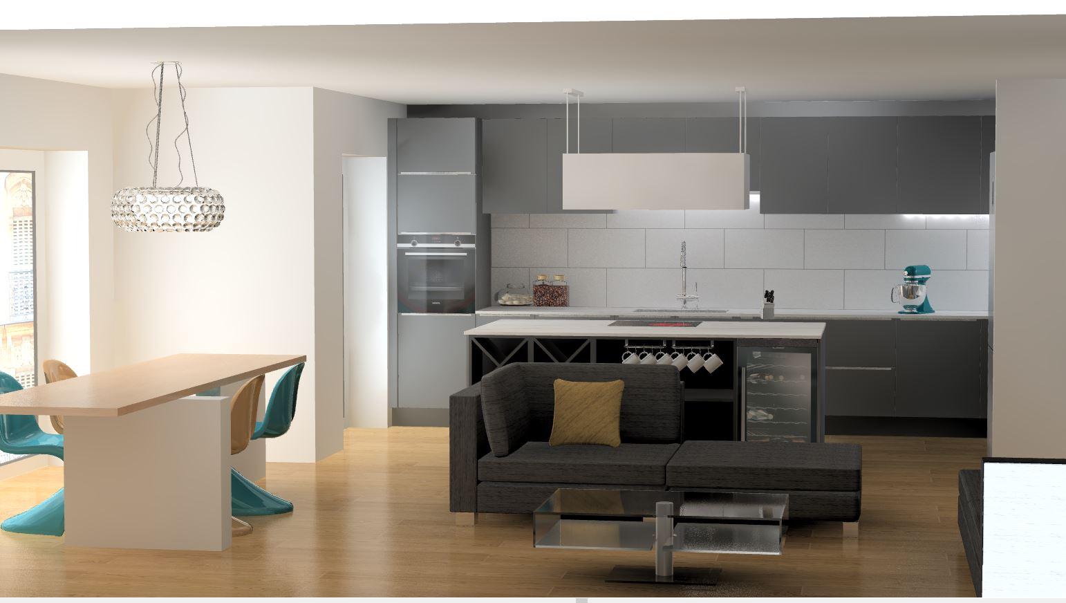 cuisine laque mate grise haut de gamme, ilot technique avec plaque et cave à vin par cuisine design Toulouse visuel 3D