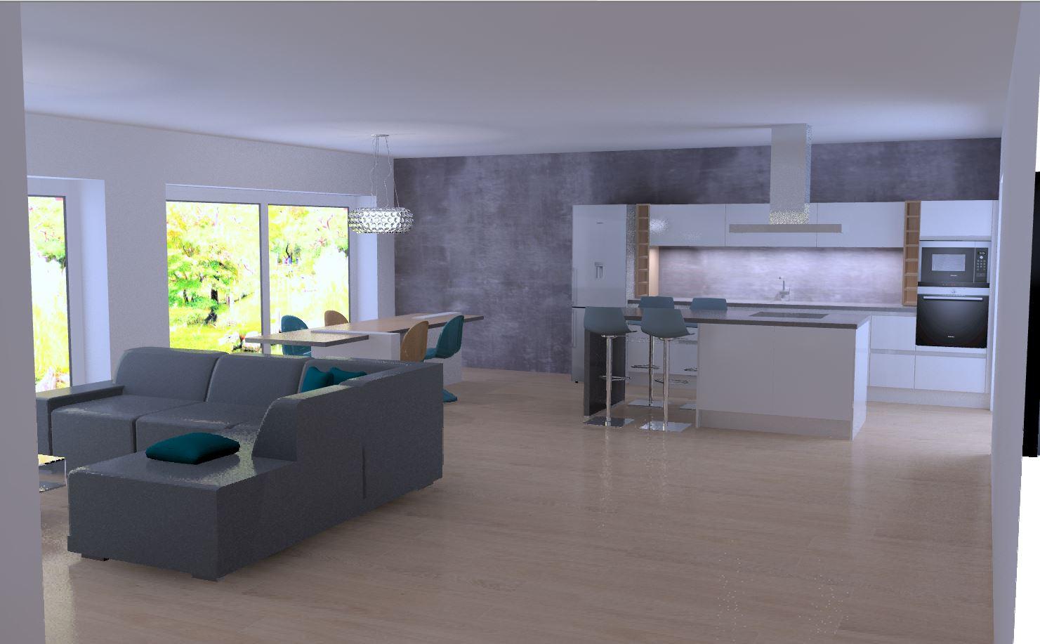 cuisine intérieur design présente une cuisine équipée, tendance, design, moderne et contemporaine, blanche, cuisine ouverte sans pognée, avec îlot central dînatoire, plan de travail en stratifié gris effet béton, niche en bois sur mesure.