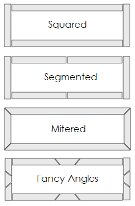 Illustration showing different ways to cut the tile to fit the frame of the heat vents.