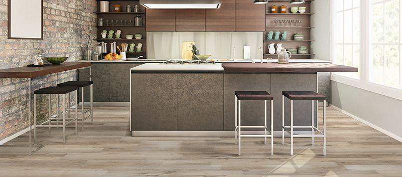 Akadia's light cream color is the perfect way to brighten up your kitchen floor!