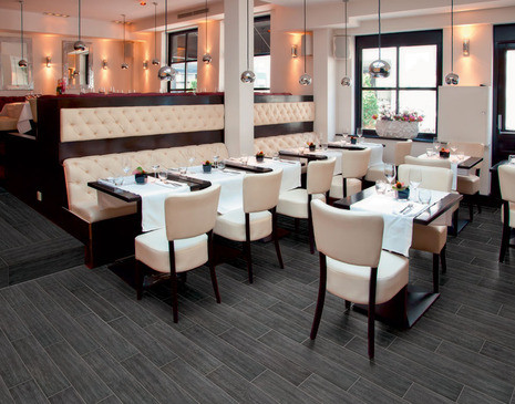 Black wood porcelain keeps with the sleek, modern aesthetic of this restaurant.