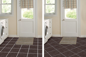 Two different pictures of the same floor; one with a straight layout and one with a diagonal layout
