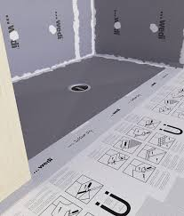 Installed Wedi Ligno shower with SublinerDry waterproofing membrane outside of the shower pan.