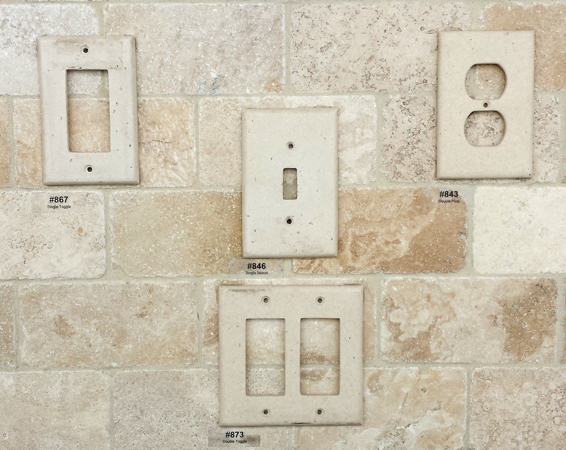 Outlet covers tile lines for Best grout color for travertine tile