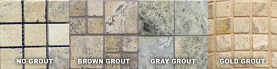 These samples are all unsealed Philadelphia Travertine. You can clearly see how the grout pigments have tinted the stone, changing the overall look of the travertine.