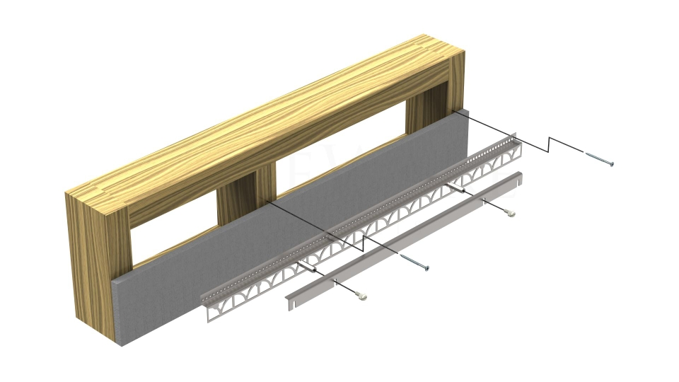 Illustration of the installation layers: screws, mounting plate, thinset, wallboard, and wall studs.