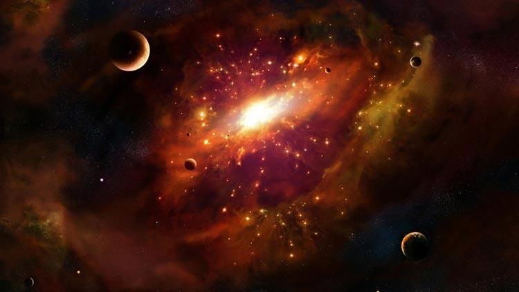Темные планеты и яркие звезды расположены вокруг мощного источника света.
