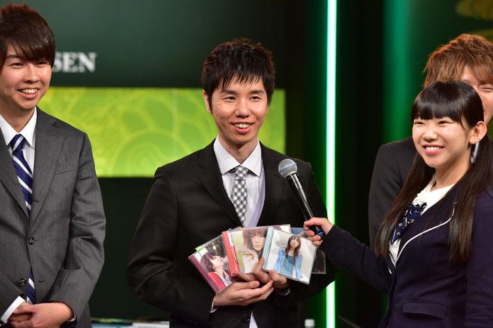 入場でaikoのCDを持つも優勝はできなかった角谷ヨウスケ。