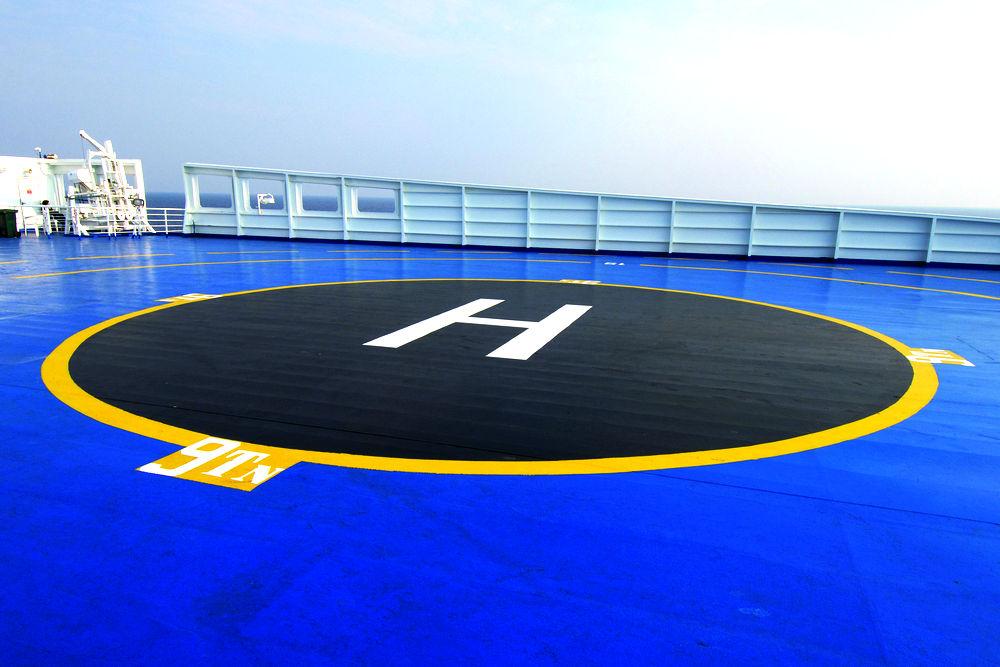Hubschrauberlandeplatz auf Schiff