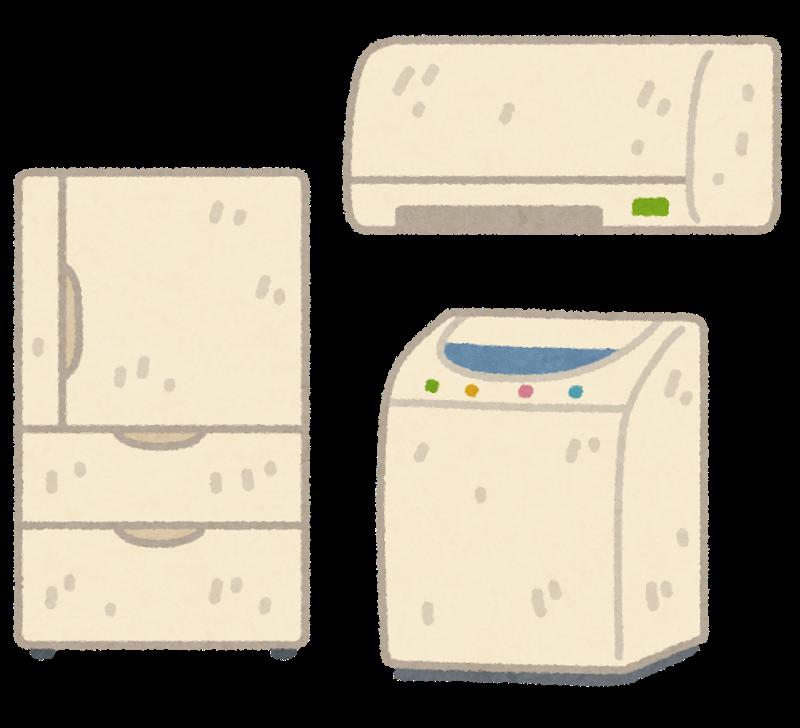 ぼろぼろの冷蔵庫などのイラスト