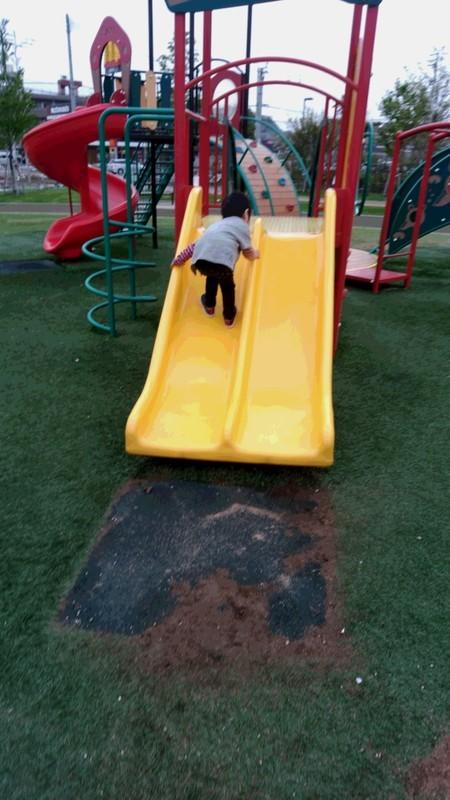 滑り台をすべる子供の写真