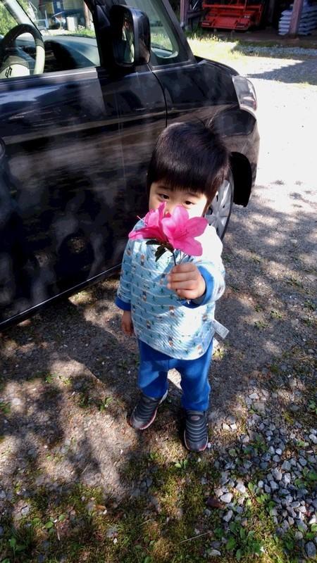 お花を持つ子供の写真